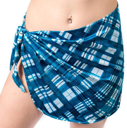 303ca3abdf Short Sarong Beach Cover Up Wrap Mini Skirt Blue White Checker