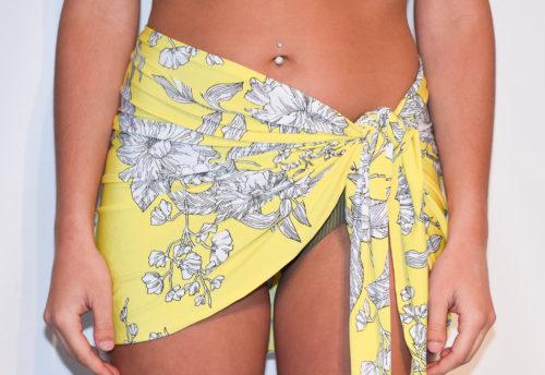 short sarong yellow white floral