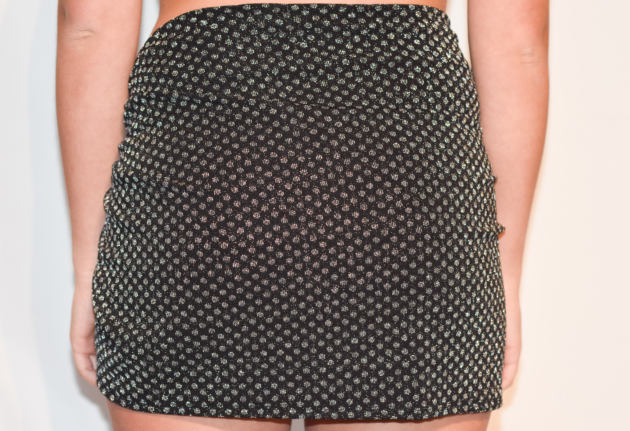 short sarong black shimmer polka dot