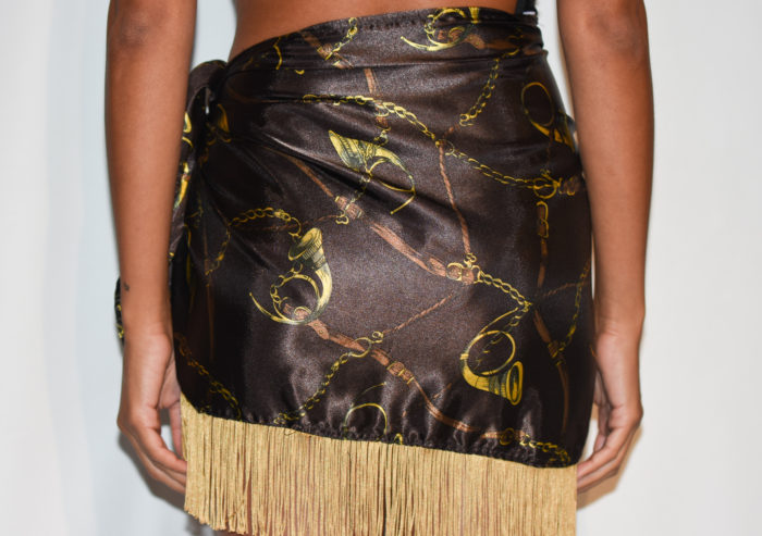 sarong brown satin dress