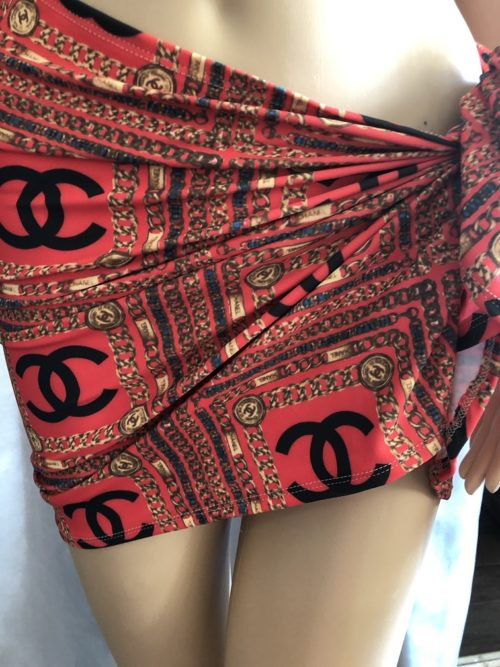 short sarong orange chanel