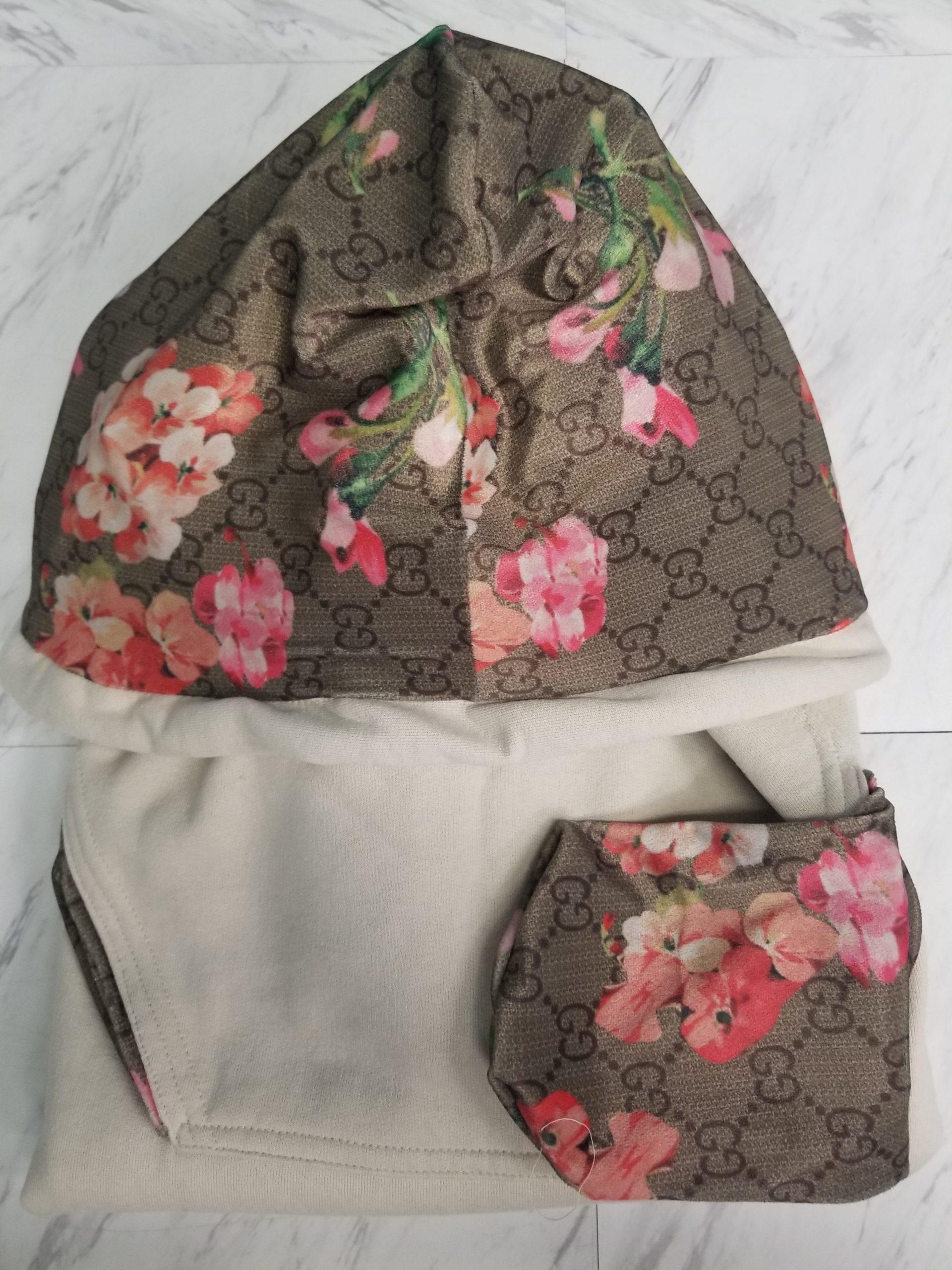 Hoodie Sand G Flowers Pockets 2