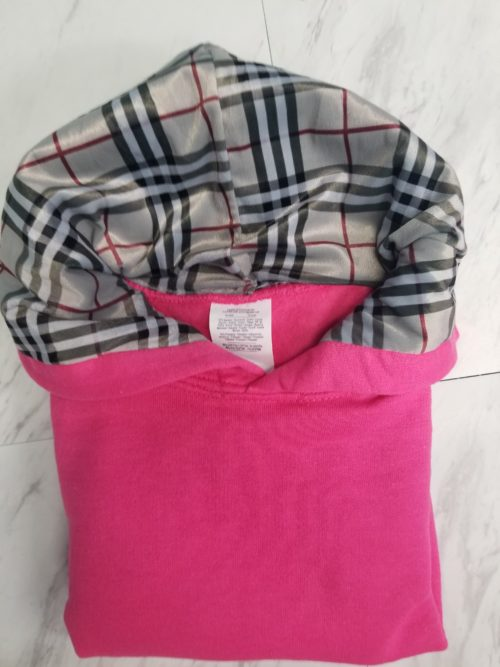 Hoodie Kids Hot Pink Bberry Plaid Front2