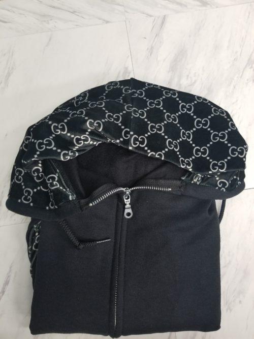 Hoodie Zip Up Black G Front
