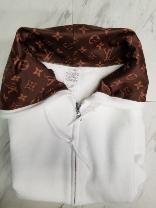 White Hoodie Pull Over Lined with Brown LV