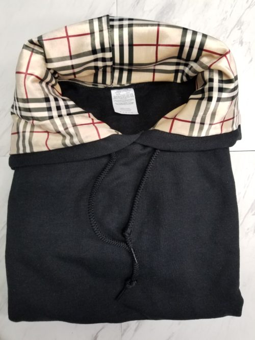 Hoodie Pull Over Black On Plaid