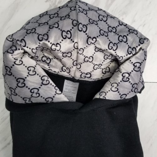 Hoodie Pull Over Black on Silver GG