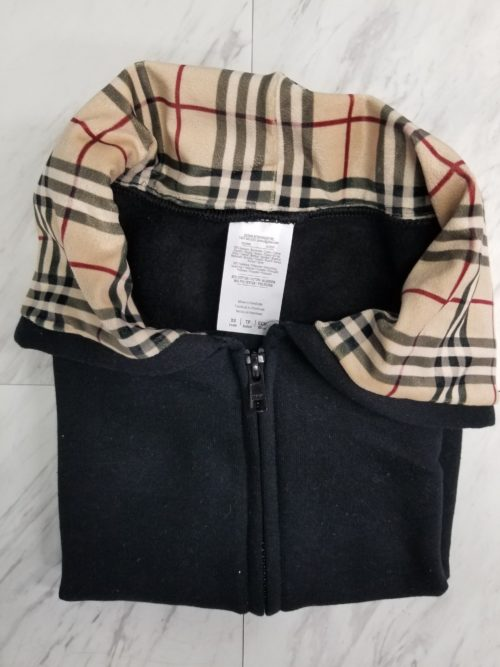 Hoodie Zip Up Black Over Plaid Bberry